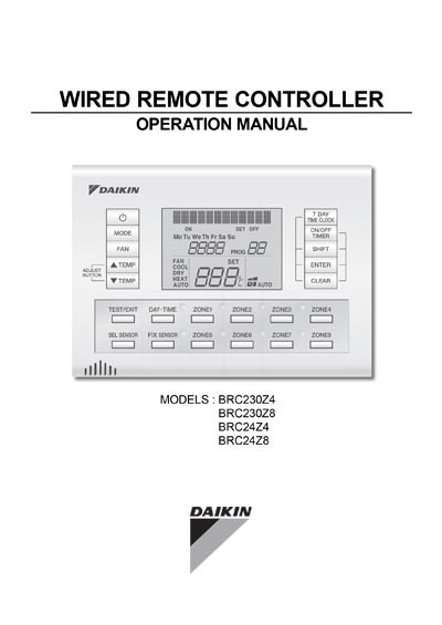 Daikin Wired Remote Controller Operation Manual - BRC23 & 24s